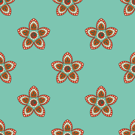 paisley wallpaper: Seamless pattern in Indian style. Ethnic ornament with flowers and paisleys. Illustration