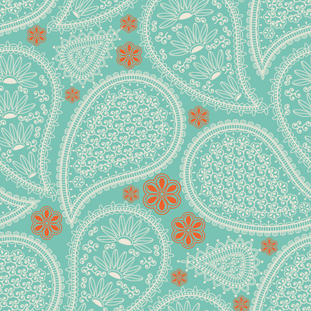 bollywood: Seamless pattern in Indian style. Ethnic ornament with flowers and paisleys. Illustration