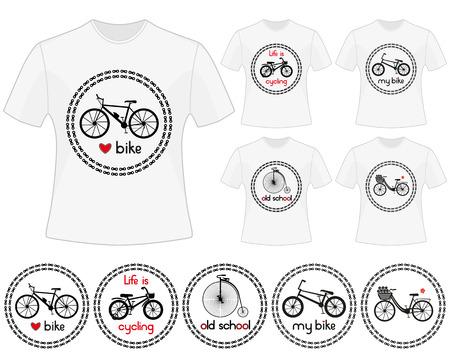 bicicleta vector: Ciclismo vector de etiquetas para el diseño de la camiseta. Conjunto de impresiones en el tema de la bici. Siluetas negras aisladas de bicicleta de montaña, bicicleta de los niños, retro moto, bicicleta de ciudad y bicicleta BMX en los círculos de la cadena.