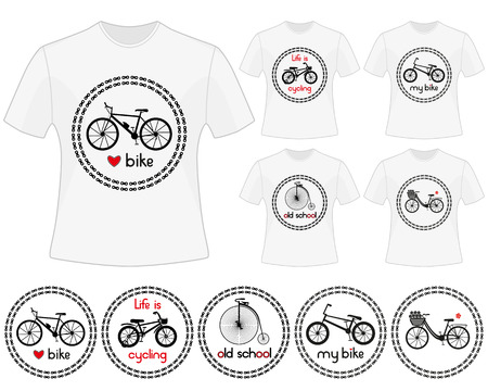 bike: Cycling vector labels for t-shirt design. Set of prints in bike theme. Isolated black silhouettes of mountain bike, kids bike, retro bike, city bike and BMX bike in chain circles. Illustration