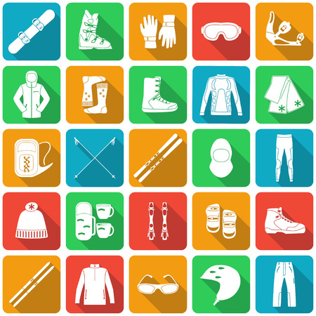 cross country: Set of equipment, cloth and shoes for winter kind of sports. Snowbord, mountain skies, cross country skies. Special protection cloth and shoes. Flat long shadow design. Ski icons series. Vector illustration.