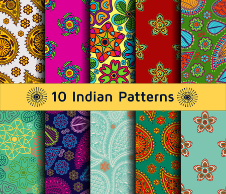 Set of Indian seamless patterns. Paisley backgrounds in ethnic style. Each pattern has been saved in swatch folder. Vector illustration.  イラスト・ベクター素材
