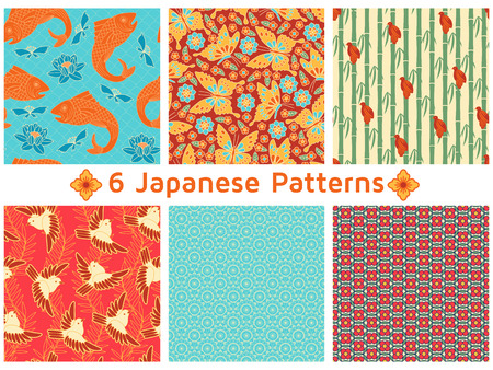 Set of six Japanese Patterns. Floral and animal elements, butterflies, carps, sparrows, chrysanthemums, lotus, cherries, bamboo, etc. Illustration
