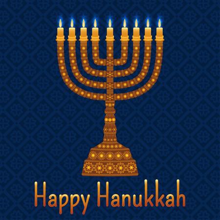 hanuka: Hanukkah background with menorah and text Happy Hanukkah. Candles, David star and jewels. Beautiful greeting card. Illustration