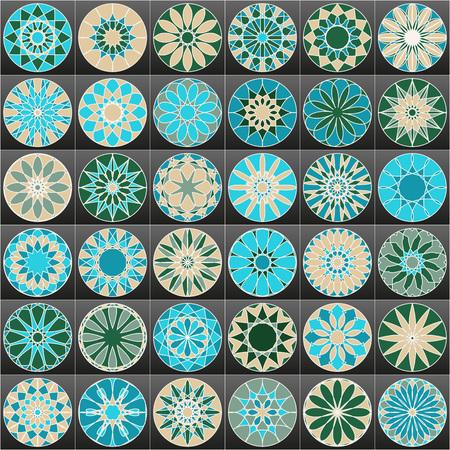 round style: Set of color Arabic ornamental symbols. Vector decorative elements.