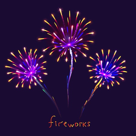 fire works: Abstract colorful fireworks background. Christmas lights. Vector illustration. Illustration