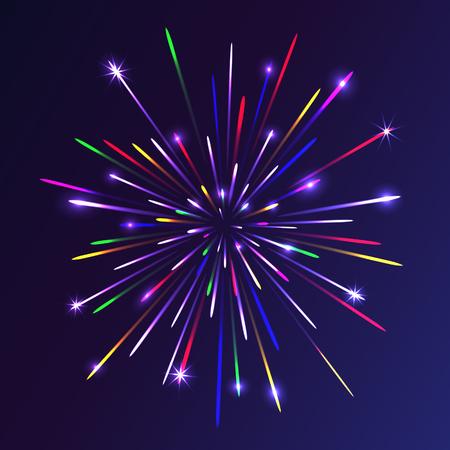 カラフルな花火は抽象的な背景。クリスマスの照明。ベクトルの図。  イラスト・ベクター素材