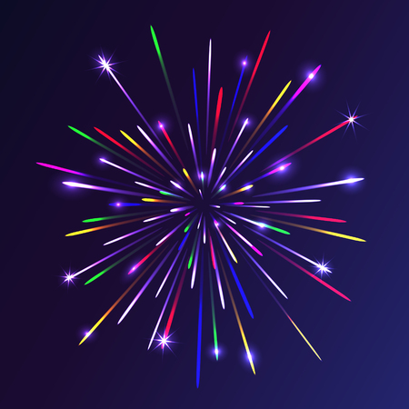 compleanno: Abstract colorful fireworks background. Christmas lights. Vector illustration. Vettoriali