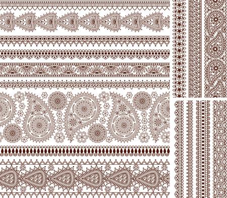 インド風の装飾用のシームレスな境界線のスーパー セットです。装飾、ヘナタトゥー、フレームなどに適しています。  イラスト・ベクター素材
