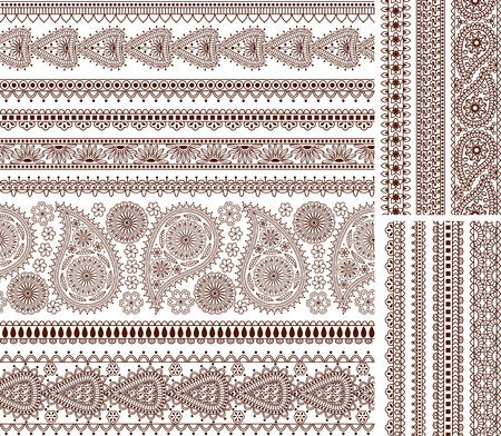 henna pattern: Super set of ornamental seamless borders in Indian style. Good for decor, henna tattoo, frames, etc.