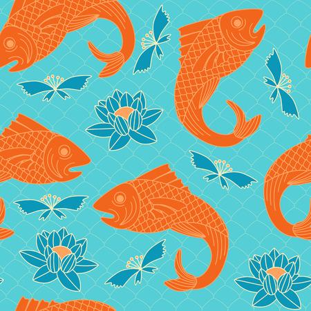Japanese seamless pattern. Floral and animal elements, carps, lotus, etc. Иллюстрация