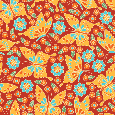 seamless pattern floral: Japanese seamless pattern. Floral and animal elements, butterflies, etc. Illustration