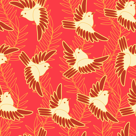 sparrows: Japanese seamless pattern. Floral and animal elements, sparrows, leaves, etc.