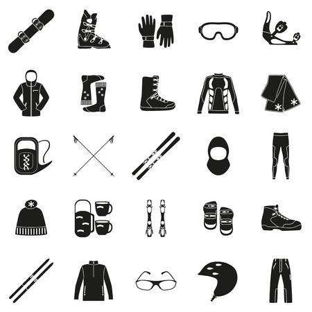 Sada zařízení, tkaniny a boty pro zimní druhy sportů. Snowbord, horská nebe, běžek. Zvláštní ochrana hadřík a boty. Silueta konstrukce. Ski ikony série. Vektorové ilustrace. Ilustrace