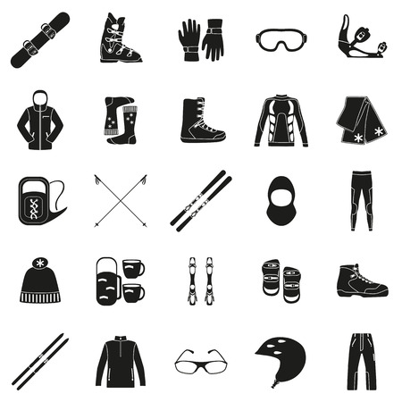 ski wear: Set of equipment, cloth and shoes for winter kind of sports. Snowbord, mountain skies, cross country skies. Special protection cloth and shoes. Silhouette design. Ski icons series. Vector illustration. Illustration