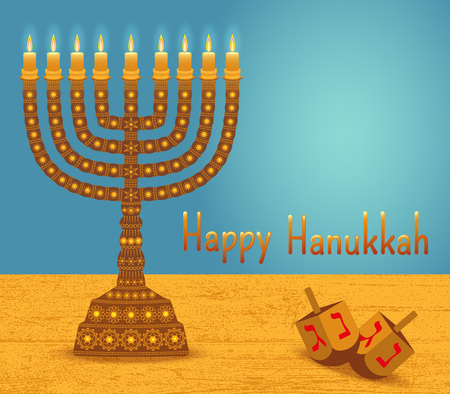 Hanukkah background with menorah, dreidels, text Happy Hanukkah and place for your text. Candles, David star and jewels. Beautiful greeting card.