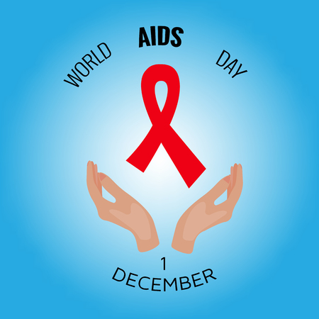 ribbon isolated: Red ribbon aids awareness, vector illustration solidarity concept