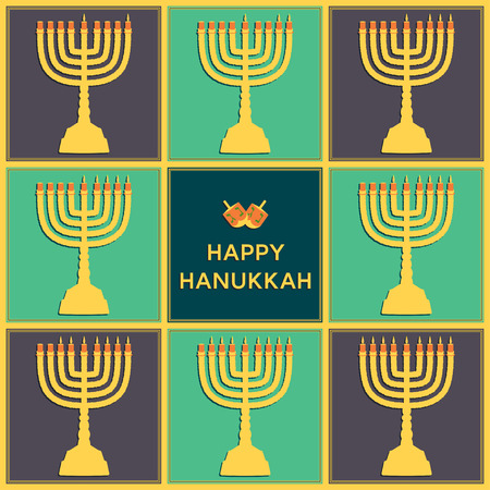 Eight candels of Hanukkah for every day holiday. Beautiful greeting card. Illustration