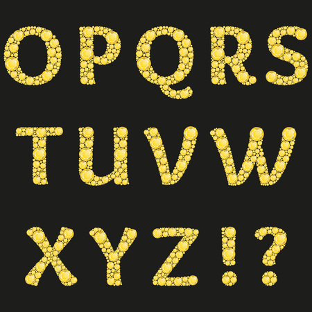 diamond letters: Vector alphabet with yellow diamonds letters. Luxury brilliant design with golden bright and diamond crystals. Vector illustration