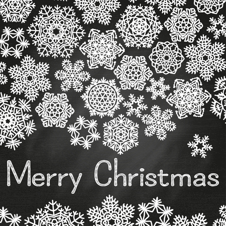 dec  25: Christmas greeting card with text Merry Christmas and snowflakes. White snowflakes on chalkboard background. Vector illustration