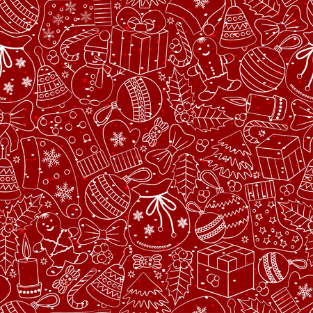 hollies: Christmas seamless background with many winter doodles. Greating card. Toys, cookies, snowmen, fir, candies, socks, gifts, bows, snowflakes, stars, hollies, mittens, red