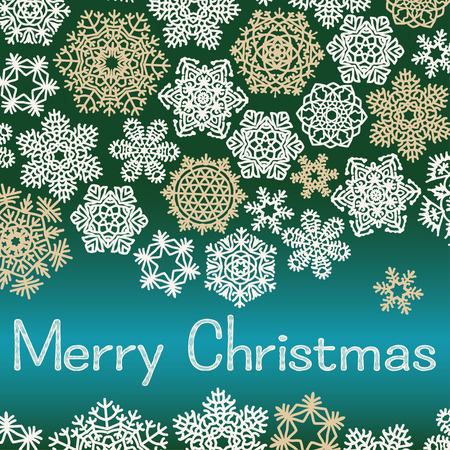dec  25: Christmas greeting card with text Merry Christmas and snowflakes. White and beige snowflakes on green and turquoise background. Vector illustration