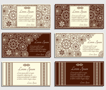 Set of beige invitation cards with brown paisley and floral elements. Good for widdings, parties, anniversaries, etc. Illustration