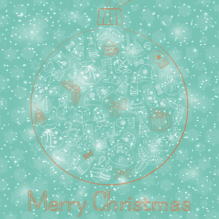 Christmas ball greeting card with text Merry Christmas and many winter doodles. Santa, toys, cookies, snowmen, fir, candies, socks, gifts, bows, snowflakes, stars, hollies, mittens, turquoise, etc.