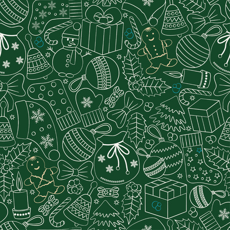hollies: Christmas seamless background with many winter doodles. Greating card. Toys, cookies, snowmen, fir, candies, socks, gifts, bows, snowflakes, stars, hollies, mittens, green, etc. Illustration