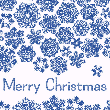 dec  25: Christmas greeting card with text Merry Christmas and snowflakes. Blue snowflakes on white background. Vector illustration