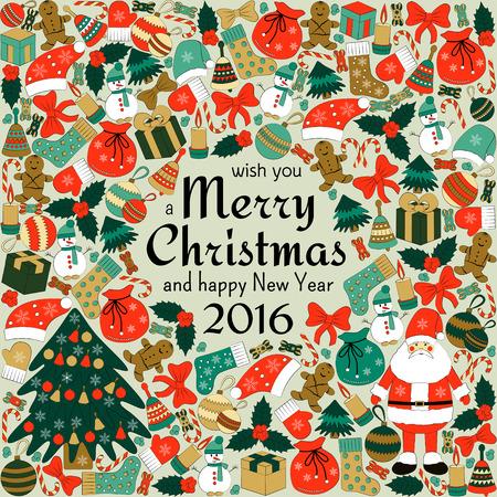 houx: Carte de voeux de Noël avec le texte vous souhaite un Joyeux Noël et beaucoup de griffonnages d'hiver. Père Noël, jouets, biscuits, bonhommes de neige, sapin, des bonbons, des chaussettes, des cadeaux, des arcs, des flocons de neige, étoiles, houx, mitaines, etc.