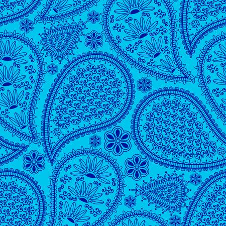 インド風のシームレスなパターン。花とペイズリー民族飾り。