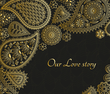 Floral paisley background with indian ormament and place for your text. Golden design with hearts. Illustration