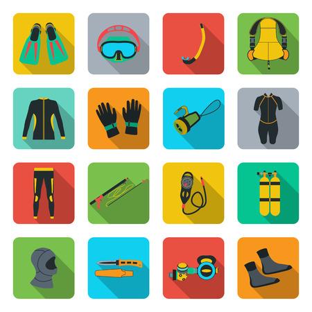 depth gauge: Scuba diving equipment. Sport underwater, water sea, glove and flashlight, mask and snorkel, illustration