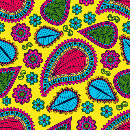 gypsy: Seamless pattern in gypsy style. Ethnic ornament with flowers and paisleys.