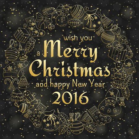 weihnachtskuchen: Weihnachtsgru�karte mit Text w�nschen Ihnen ein frohes Weihnachtsfest und Kranz mit vielen Winter Doodles. Weihnachtsmann, Spielzeug, Kekse, Schneem�nner, Tanne, S��igkeiten, Socken, Geschenke, B�gen, Schneeflocken, Hollies, Handschuhe. Illustration