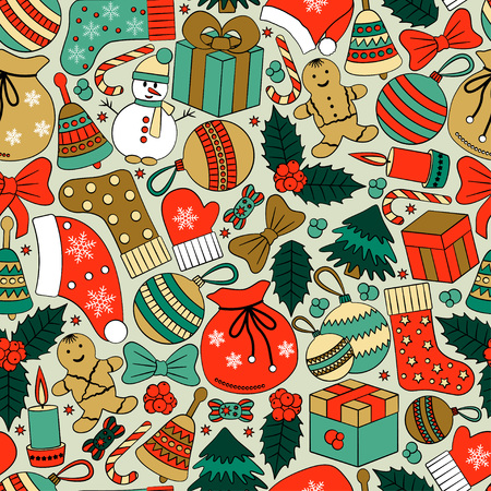 greating card: Christmas seamless background with many winter doodles. Greating card. Toys, cookies, snowmen, fir, candies, socks, gifts, bows, snowflakes, stars, hollies, mittens, etc. Illustration