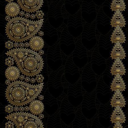 花ペイズリー背景にインドの ormament、あなたのテキストのための場所。心の黄金デザイン。