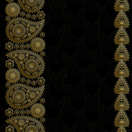 anniversary celebration: Floral paisley background with indian ormament and place for your text. Golden design with hearts. Illustration