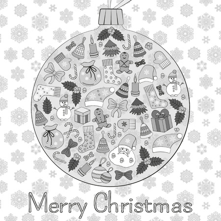 hollies: Christmas ball greeting card with text Merry Christmas and many winter doodles. Santa, toys, cookies, snowmen, fir, candies, socks, gifts, bows, snowflakes, stars, hollies, mittens, etc.