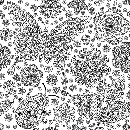 ladybug: Seamless pattern with flowers and butterflies. Romantic floral background. Black and white colors.