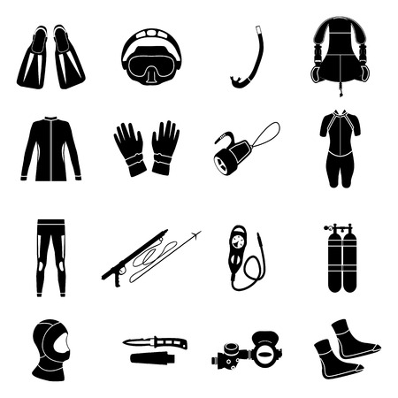 depth gauge: Scuba diving equipment. Sport underwater, water sea, glove and flashlight, mask and snorkel, illustration