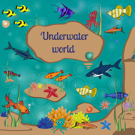 astronotus: Underwater world, cartoon, text, coral reefs beneath the sea, many bright colored fishes, illustration