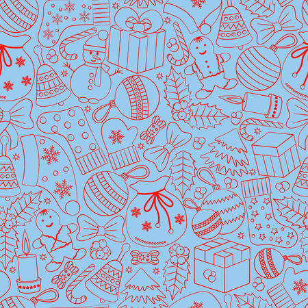 Christmas seamless background with many winter doodles. Greating card. Toys, cookies, snowmen, fir, candies, socks, gifts, bows, snowflakes, stars, hollies, mittens, etc. Illustration