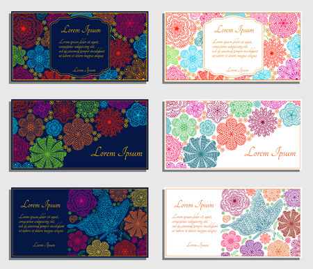 wedding backdrop: Set of invitation cards with flowers and butterfly. Good for weddings, parties, anniversaries, etc. Illustration