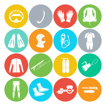 long socks: Scuba diving equipment. Sport underwater, water sea, glove and flashlight, Jacket, pants, suit, socks, regulators, octopus, mask and snorkel. Flat long shadow design. Vector illustration