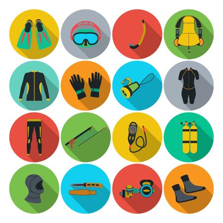 speargun: Scuba diving equipment. Sport underwater, water sea, glove and flashlight, Jacket, pants, suit, socks, regulators, octopus, mask and snorkel. Flat long shadow design. Vector illustration