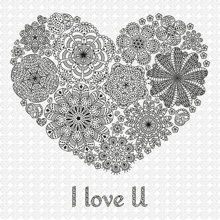 lowers: Card design for Valentines day or lowers. Pattern with flowers. Heart shape. Text I Love U. Beautiful floral background. Good for weddings, invitations, birthdays. Black and white colors. Illustration
