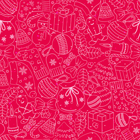 hollies: Christmas seamless background with many winter doodles. Greating card. Toys, cookies, snowmen, fir, candies, socks, gifts, bows, snowflakes, stars, hollies, mittens, etc. Illustration
