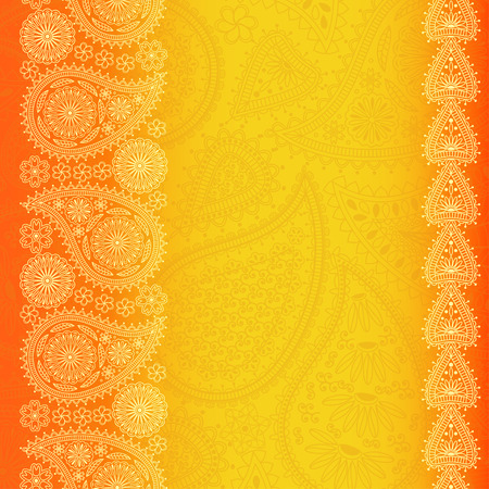 your text: Floral paisley background with place for your text. Bright orange colors. Vector illustration Illustration